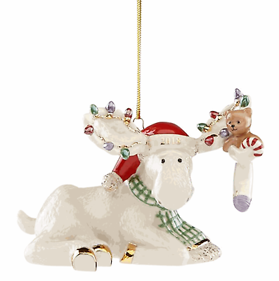 Lenox 2018 Moose Figurine Ornament Annual Marcel's Christmas Stocking Teddy NEW