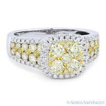 1.71ct Round Cut Diamond Pave Right-Hand Fashion Ring in 18k White & Yellow Gold - €2.947,29 EUR