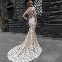 New Style Elegant Satin Lined Long Sleeve Lace Illusion Mermaid- Trumpet Bridal  image 2