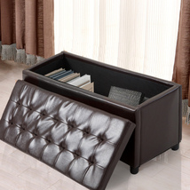 Storage Ottoman Faux Leather Sofa Bench Foot Rest Stool Seat Chest Toy B... - $64.99
