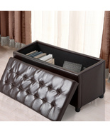 Storage Ottoman Faux Leather Sofa Bench Foot Rest Stool Seat Chest Toy B... - $69.99