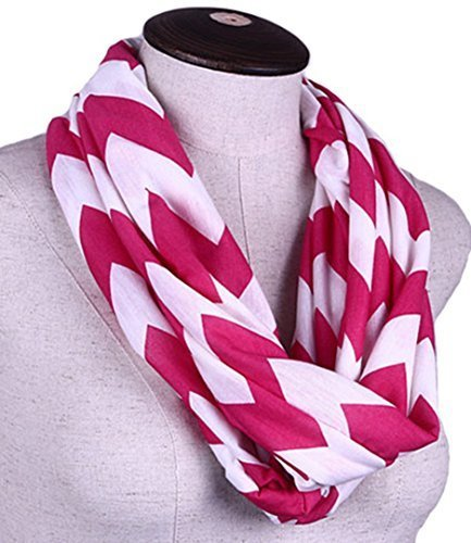 Chevron Infinity Scarf Cotton Double Layer Loop (Hot Pink)