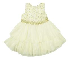 NANETTE LEPORE NEW INFANT GIRLS METALLIC TIERED FLORAL APPLIQUE CREAM DR... - $39.59