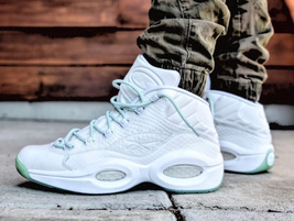 Reebok Classics Mens Question Mid EE Leather Trainers White/Mint Glow - $125.66