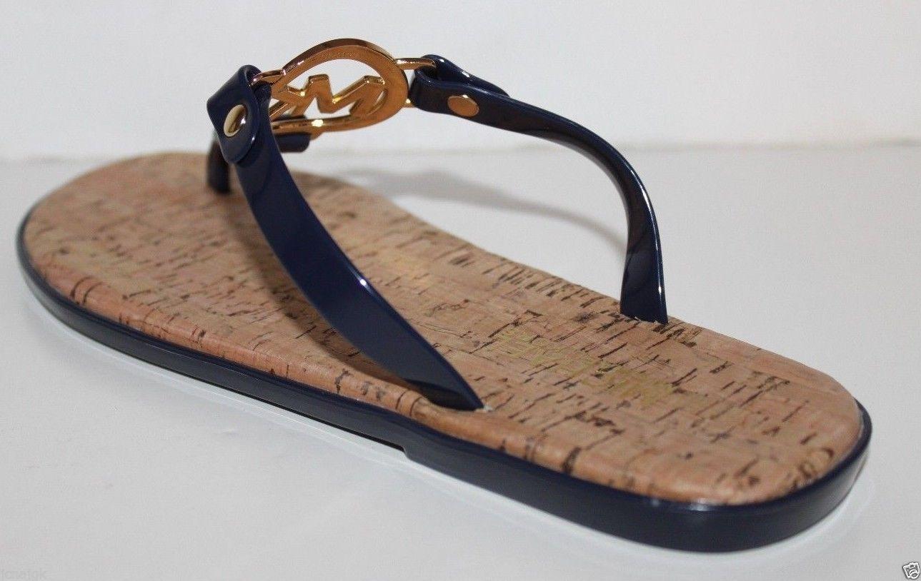144c66129731 Michael Kors NWOT Womens Navy Bue Flip Flop Charm Jelly Sandals Cork
