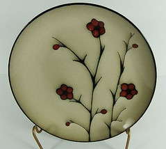 "Jessica McClintock Home Red Flowers Dinner Plate 11"" Tan Brown - $5.92"