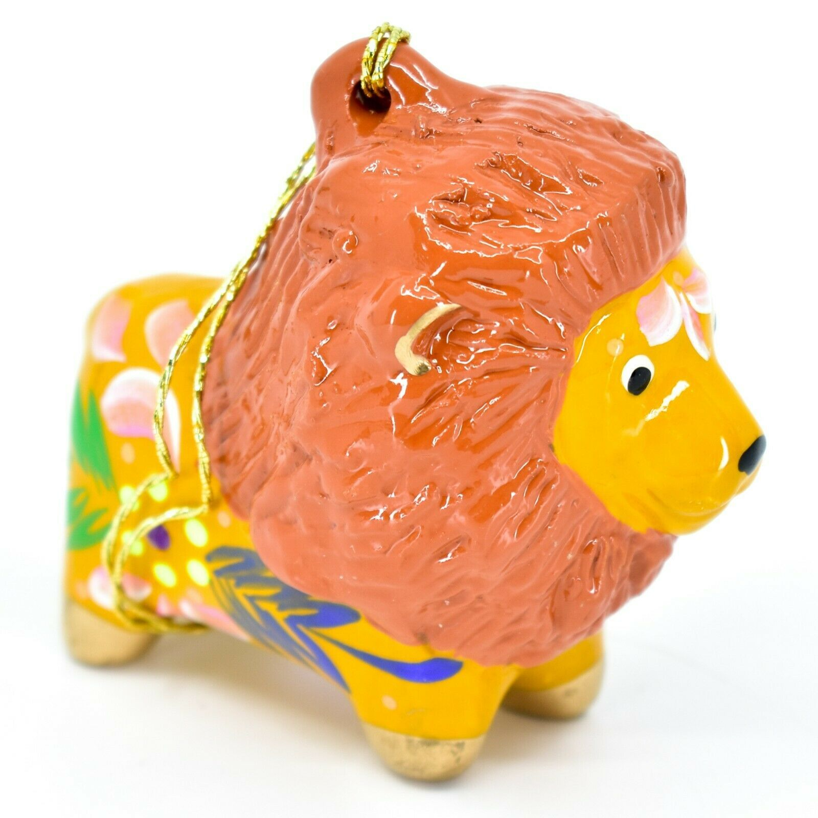 Handcrafted Painted Ceramic Brown Orange Lion Confetti Ornament Made in Peru