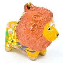 Handcrafted Painted Ceramic Brown Orange Lion Confetti Ornament Made in Peru image 1