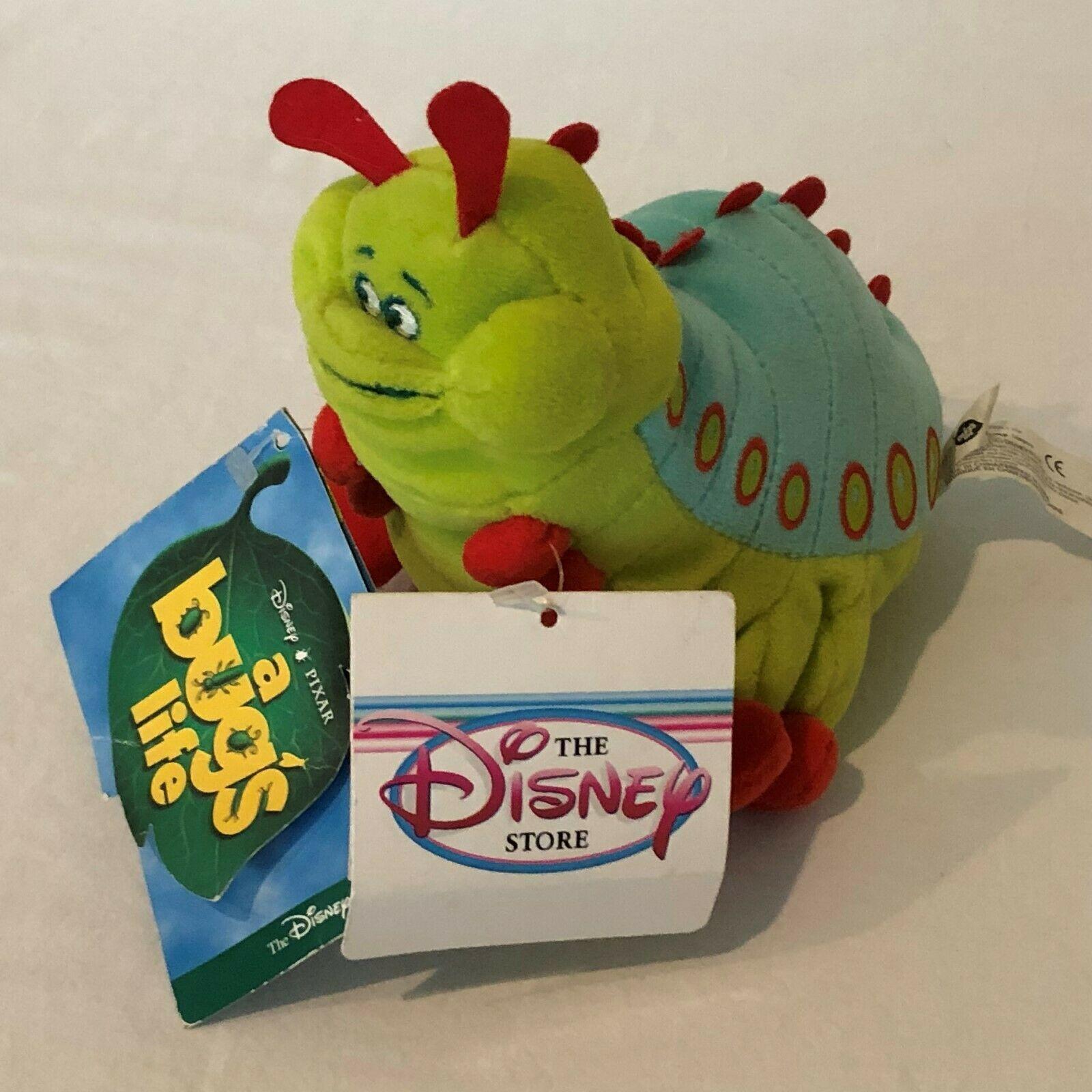 "Disney Store A Bugs Life Heimlich Caterpillar Beanie Plush Stuffed Animal 8"""