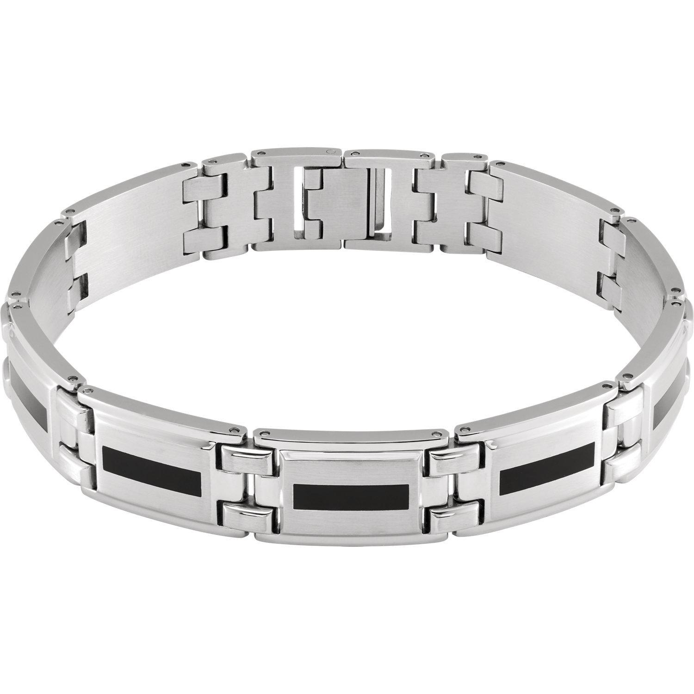 Men's Stainless Steel & Black Enamel Bracelet