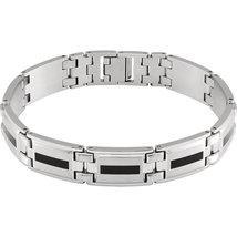 Men's Stainless Steel & Black Enamel Bracelet - $88.99
