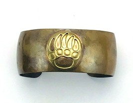 Vintage Signed Hecho En Mexico Copper Patina Bear Paw Cuff Bangle Bracelet - $63.36