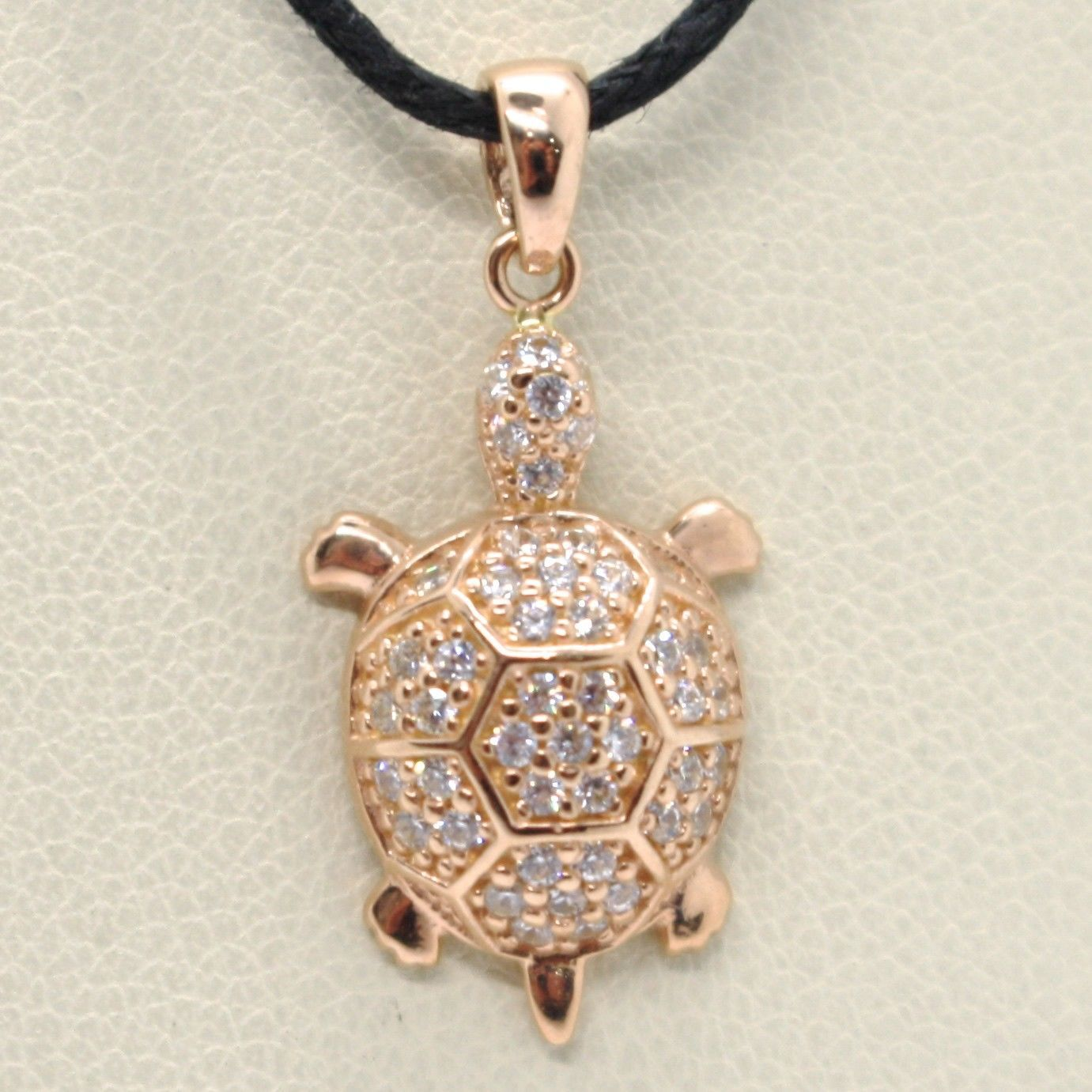 18K ROSE GOLD TURTLE ZIRCONIA PENDANT CHARM, 23 mm 0.9 inches, MADE IN ITALY