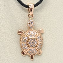 18K ROSE GOLD TURTLE ZIRCONIA PENDANT CHARM, 23 mm 0.9 inches, MADE IN ITALY image 1