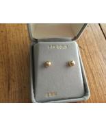 Full Diamond Cut Ball Post Earrings 14K Real Solid Yellow Gold 5mm - $54.74