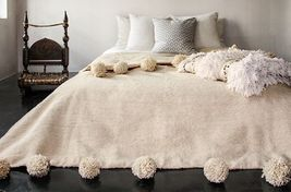 Moroccan Pom Pom Blanket Wool, Queen size bed, Large Pompoms, Bohemian bed cover - $137.61