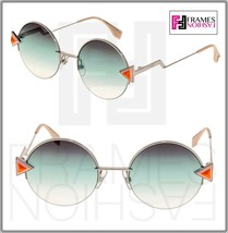 FENDI RAINBOW FF0243S Silver Pink Green Gradient Round Sunglasses Metal ... - $222.75