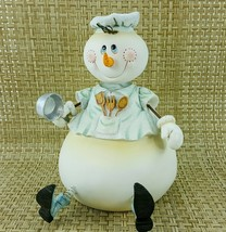 """Bobble Head Chubby Snowman Chef 8"""" Figurine Cook Baker Kitchen Holiday D... - $24.18"""