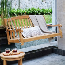 Member's Mark Porch Swing Teak Beautiful With Hanging Hardware Decay Res... - £102.09 GBP