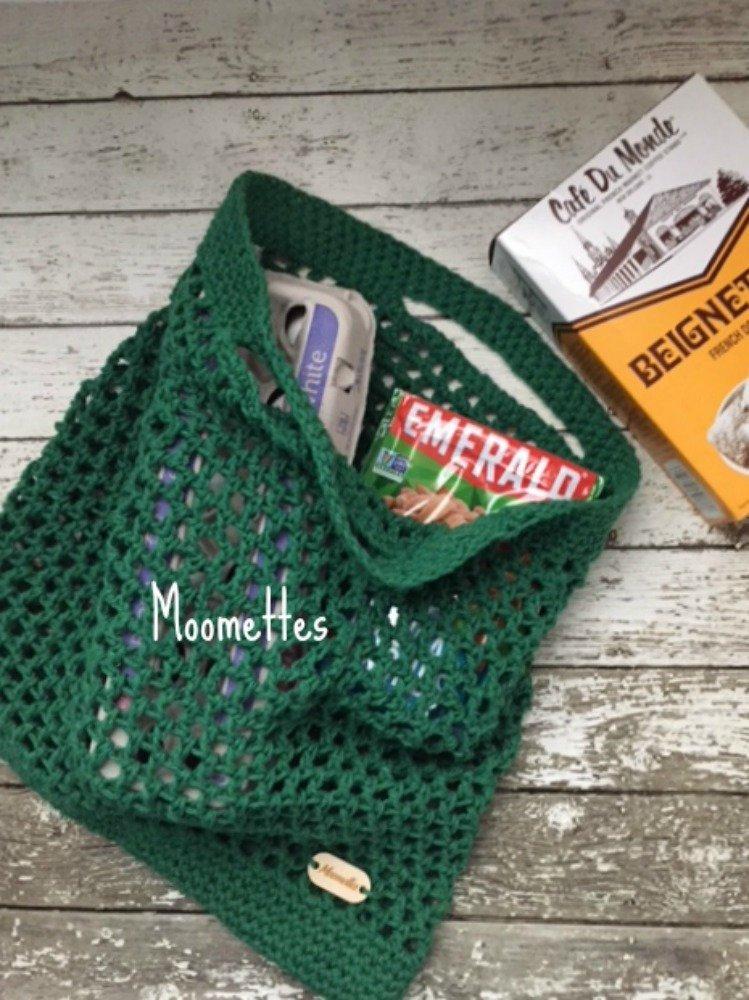 70f7f1531 Handmade French Market Bag Green Cotton Eco Reusable Produce Shopping Tote  Mesh