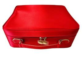 Estee Lauder Red Satin Make Up Cosmetic Handled Gold Logo Zip Close Trav... - $11.17