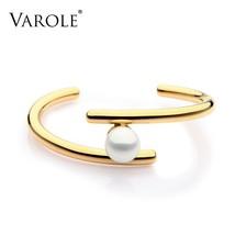 Simple Line Pearl Cuff Bracelets & Bangles Open Gold Color Love Bangle Bracelets - $36.69