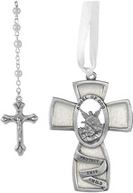 White Guardian Angel Crib Medal and Rosary Set Baby Infant Girls Boys Ch... - $68.80