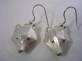 FOX HANGING EARRINGS WITH FUR LIKE FINISH IN STERLING  SILVER - $23.33