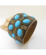Vintage India Brass Black Turquoise Blue Art Glass Statement Bangle Brac... - $28.04