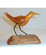 Tom Morris Carved Folk Art Shore Bird Glass Eyes Wire Legs Standing on D... - $40.00