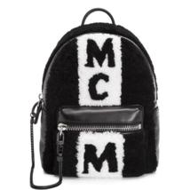 MCM Women's Stark Shearing Stripe Backpack Small Size Black MMK7AVE61BK001 - $2,821.50