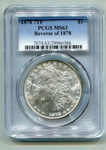 1878 7TF REVERSE OF 1878 MORGAN SILVER DOLLAR PCGS MS63 COLOR REVERSE PR... - $195.00
