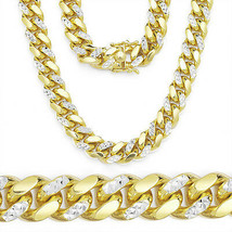 Men's 14K YG Diamond Cut 925 Silver Miami Curb Cuban Heavy Chain 14MM Thick - $1,346.21+