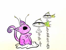 Space Cat - Heartful Communication (Light Language Art)(ORIGINAL) - $36.00