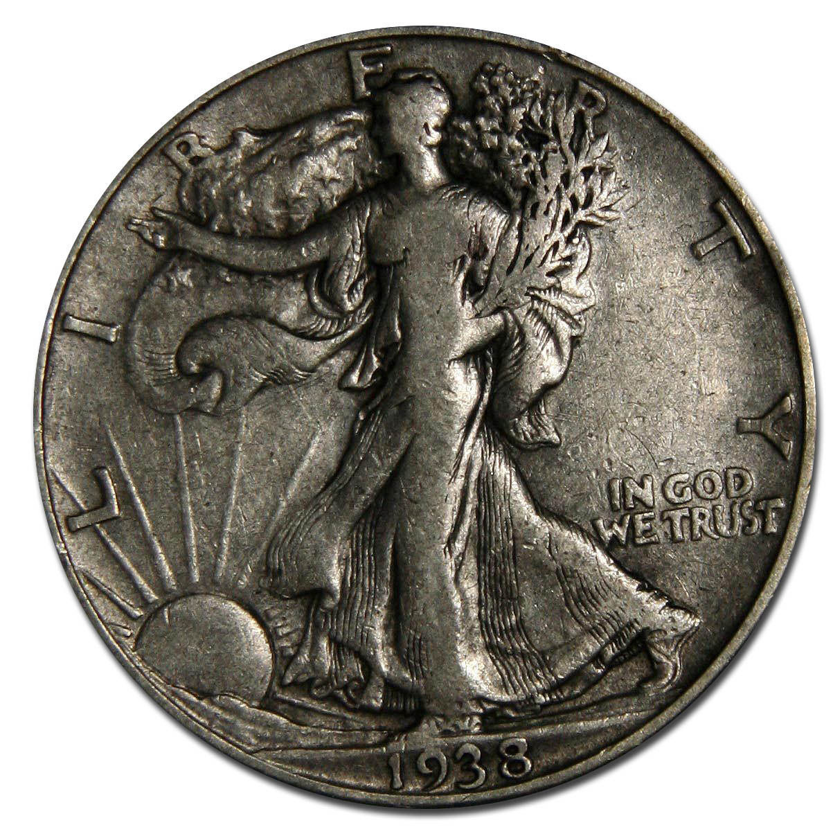 1938D Walking Liberty Half Dollar 90% Silver Coin Lot# A 1080