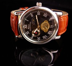 Vintage Boca Watch - mens leather band - loaded with detail - runs great... - $95.00