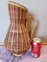 """Natural Rattan Wicker Reed Handled Wine Pitcher Basket 16"""" x 9""""  - $9.99"""