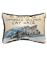 "Adorned with Cat Hair Decorative Throw Pillow 8.5"" x 12.5"" - $361,10 MXN"