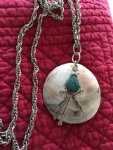 """Grandmas Estate 18""""  Unique Necklace Stone Pendant Necklace  (fl) - $15.83"""