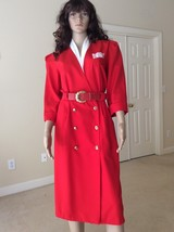 Womens Vintage Miss Dorby Red Belted Dress  Long Sleeve Knee Length Size... - $16.70
