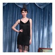 Sexy Woman Refinement Uniform Underwear Tassel Dress Halloween    black - $39.89