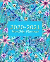 2020-2021 Monthly Planner: Blue Floral 2 Year Monthly Planner Calendar S... - $15.19
