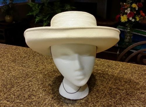 fc8d3a9cf09 Whittall   Shon Doeskin Felt Wool Ivory Sequin Kentucky Derby Hat RARE  Vintage.