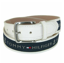 Tommy Hilfiger Men's Logo Ribbon Inlay Leather Belt 11TL02X032 Size 38 w/ Defect