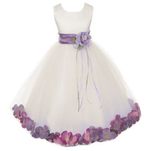 Ivory Satin Bodice Layers Tulle Skirt Purple Flower Ribbon Brooch and Petals - $48.00