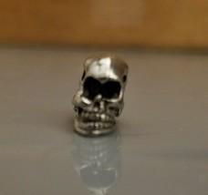 Skull Horizontal Side Hole FINE PEWTER Bead - 10x7x12mm image 2