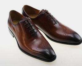 Handmade Men's Brown Toe Burnished Heart Medallion Dress Oxford Leather Shoes image 1