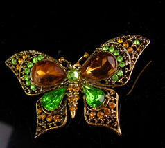 Vintage Large Butterfly Brooch - Mother of the bride  gift - green and t... - $75.00