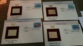 4 First Day Issue Gold Plated Stamps Wonders of the Sea Oct. 3, 1994 - $4.99