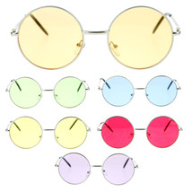 Bright Color Lens Retro Style Round Circle Hippie Groovy Sunglasses - $10.37 CAD+